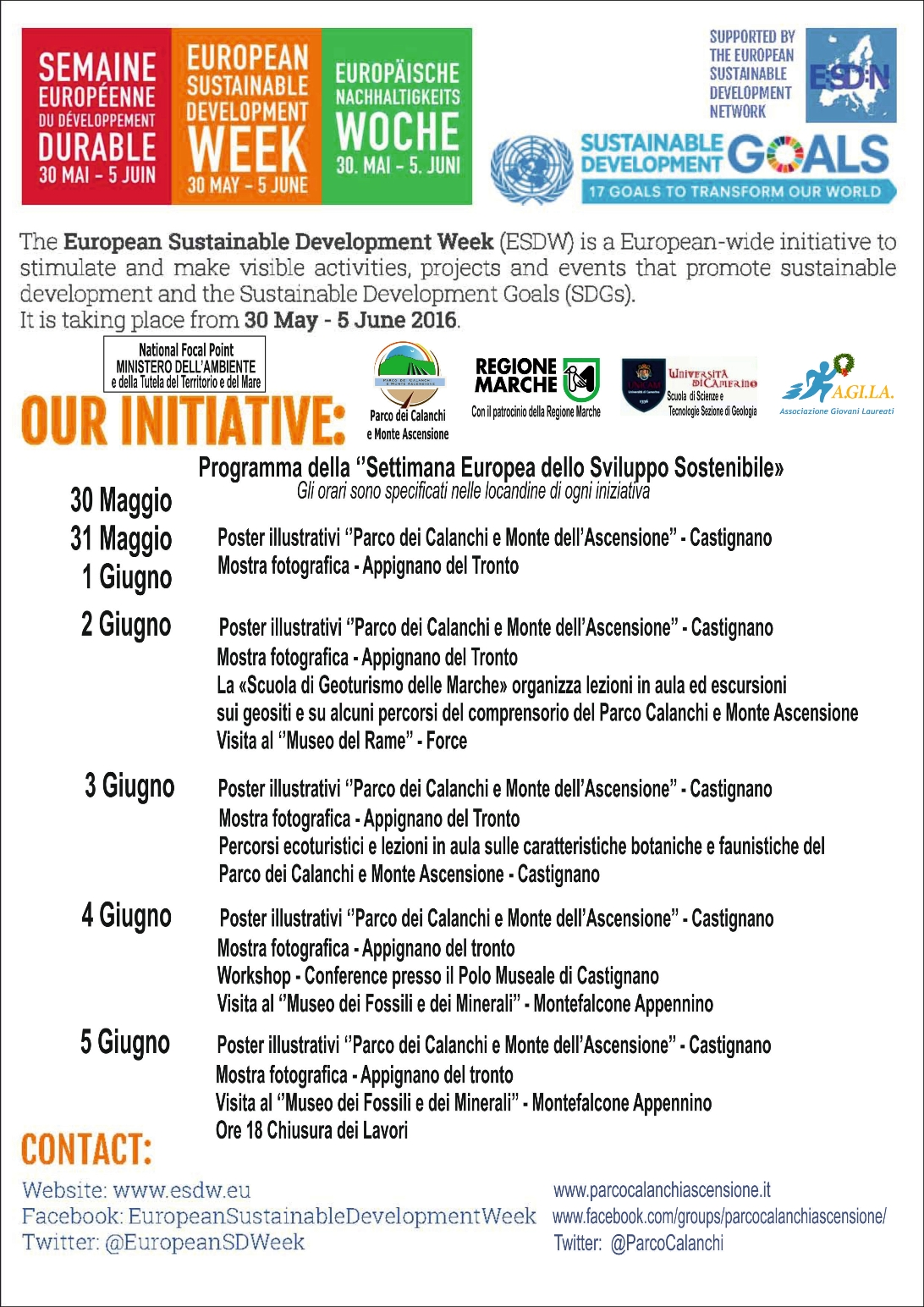 ESDW - Programma della Settimana Europea dello Sviluppo Sostenibile organizzata dal Parco dei Calanchi e Monte Ascensione