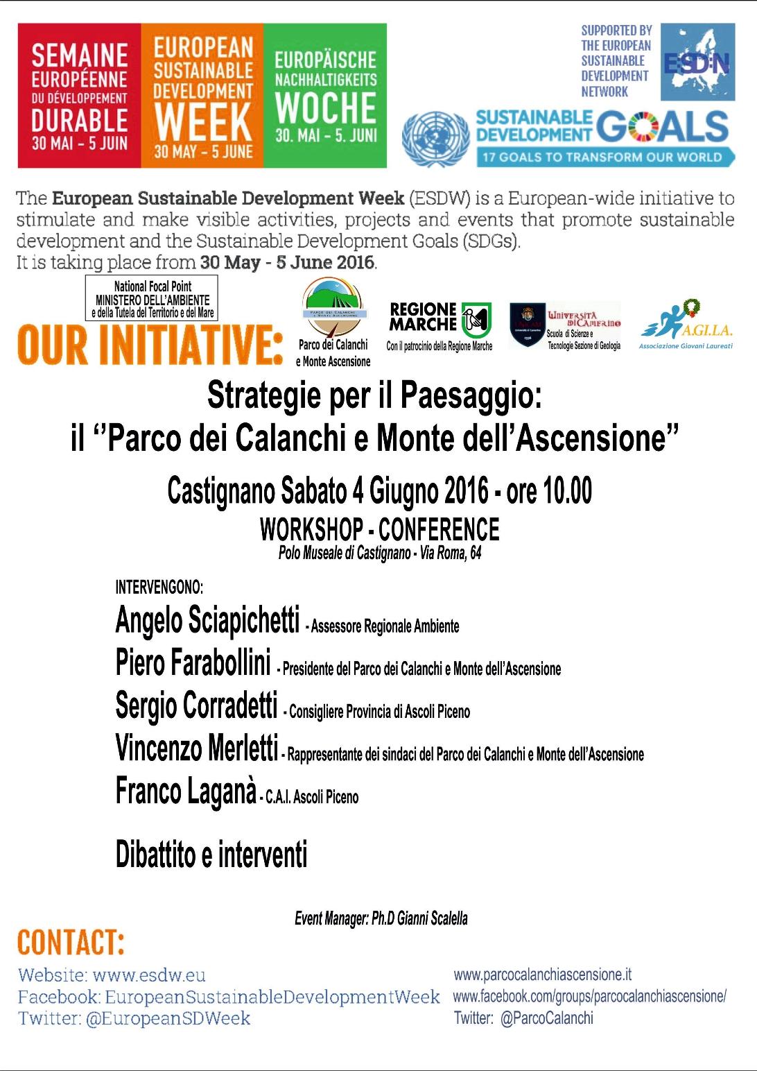 ESDW - Workshop per la Settimana Europea dello Sviluppo Sostenibile - Castignano 4 Giugno 2016