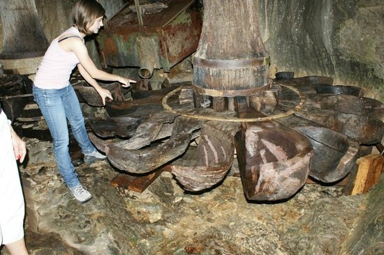 - Particolare delle pale del mulino Angelini, a forma di enormi cucchiai di legno (immagine tratta dal sito internet).